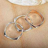 Sterling silver and copper band rings, 'Taxco Destiny' (set of 3) - Taxco Sterling Silver and Copper Stacking Rings