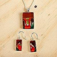 Art glass jewelry set, 'Autumn Sunset'