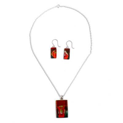 Art glass jewelry set, 'Autumn Sunset' - Hand Crafted Modern Art Glass Pendant Jewelry Set