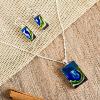 Art glass jewelry set, 'Marine Inspiration' - Dichroic Art Glass Necklace and Earrings Jewelry Set Mexico