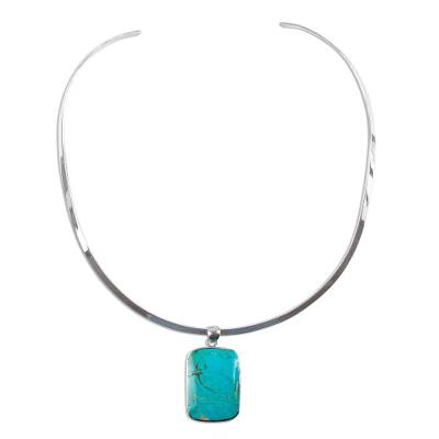 Turquoise choker, 'Caribbean Mosaic' - Handmade Taxco Silver Natural Turquoise Necklace