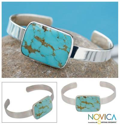 Turquoise cuff bracelet, 'Caribbean Mosaic' - Fair Trade Handcrafted Modern 925 Sterling Silver Cuff with