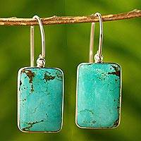Turquoise dangle earrings, 'Caribbean Mosaic' - Turquoise Sterling Dangle Earrings