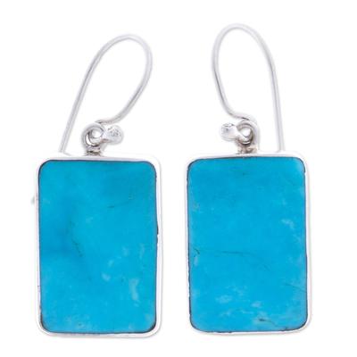 Turquoise dangle earrings, 'Caribbean Mosaic' - Turquoise Sterling Dangle Earrings