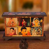 Decoupage chest, 'Visions of Frida Kahlo' - Mexican Art Handcrafted Wood Decorative Box