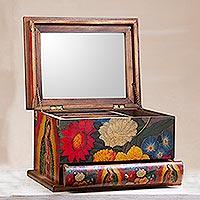 Decoupage jewelry box, 'Loving Virgin of Guadalupe' - Wood Decoupage Jewelry Box with Religious Theme