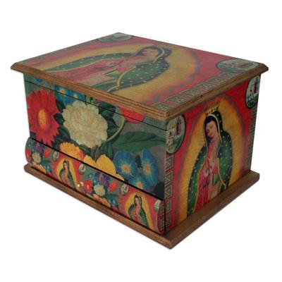 Decoupage jewelry box, 'Loving Virgin of Guadalupe' - Fair Trade Religious Decoupage Wood Jewelry Box