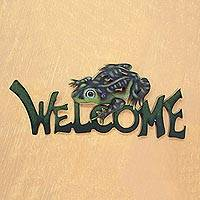 Steel welcome sign, 'Frog Prince' - Steel Welcome Sign Outdoor Living