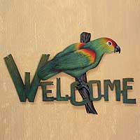 Steel welcome sign, 'Perky Parrot' - Bird Motif Steel Welcome Sign Outdoor Living