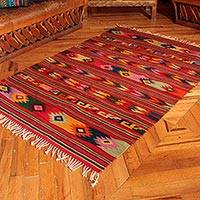 Zapotec wool rug, 'Guelaguetza Colors' (4x6.5) - Unique Zapotec Wool Red Area Rug (4x6.5)