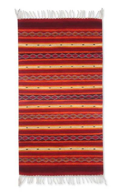 Zapotec Wool Rug 2 5 X 5 Ft Red Handmade In Mexico Paths