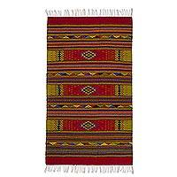 Zapotec wool rug, 'A Thousand Stars' (4x6.5) - Handmade Zapotec Wool Area Rug (4x6.5)