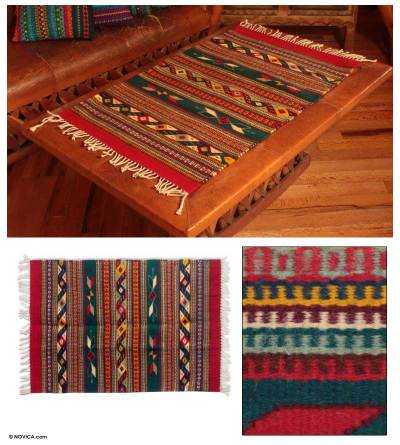 Zapotec wool rug, 'Daybreak in the Sierra' (2x3.5) - Zapotec Area Rug (2x3.5) in Red and Green