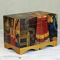 Decoupage chest, 'Frida in Pan American Unity' - Frida Kahlo Decorative Decoupage Box