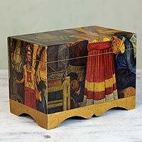 Decoupage chest, 'Frida in Pan American Unity' - Frida Kahlo Decorative Decoupage Box
