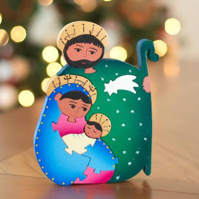 Wood display jigsaw puzzle, 'Holy Family' - Wood display jigsaw puzzle