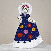 Wood display jigsaw puzzle, 'Frida in Ruffles' - Wood display jigsaw puzzle