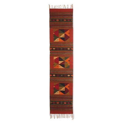 Zapotec wool rug, 'Fish Fiesta' (1.5x6.5) - Handmade Wool Sea Life Area Rug (1.5x6.5)