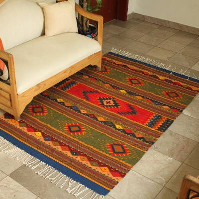 Zapotec wool rug, Center Cross (4x6.5)