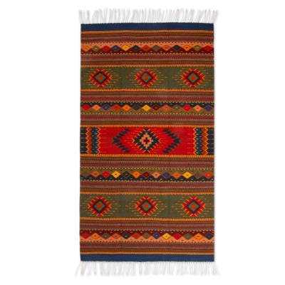 Zapotec wool rug, 'Center Cross' (4x6.5) - Handcrafted Geometric Wool Area Rug (4x6.5)