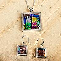 Art glass jewelry set, 'Summer Abstract' - Unique Modern Art Glass Pendant Jewelry Set from Mexico