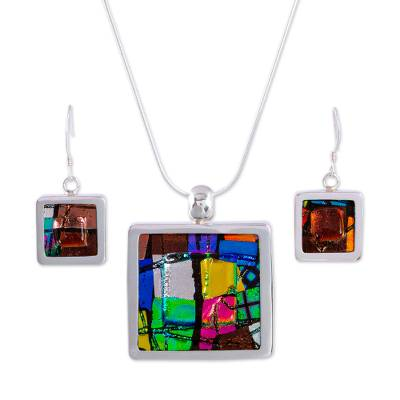Unique Modern Art Glass Pendant Jewelry Set from Mexico