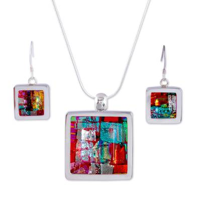 Art glass jewelry set, 'Seasonal Abstract' - Modern Dichroic Glass Pendant Jewelry Set