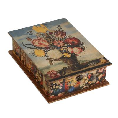 Floral Wood Jewelry Box with Mirror