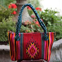Wool tote handbag, 'Zapotec Diamonds' - Handwoven 100% Wool Mexican Tote Shoulder Back with Cotton L