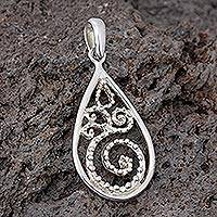 Sterling silver pendant, 'Teardrop Fern' - Sterling Silver Pendant from Mexico