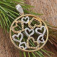 Gold accent pendant, 'Heart Celebration' - Gold accent pendant