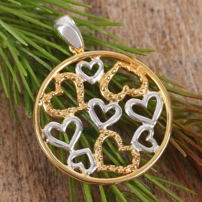 Gold accented pendant, 'Heart Celebration' - Gold Accent Silver Heart Pendant
