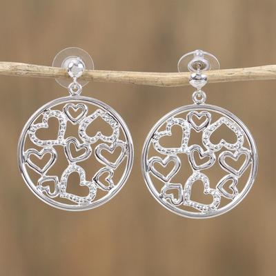 Sterling silver dangle earrings, 'Heart Celebration' - Sterling silver dangle earrings