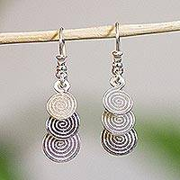 Silver dangle earrings, 'Flowing Spirals' - Modern Mexico Handmade Silver Dangle Earrings