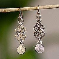 Silver dangle earrings, 'Maya Universe' - Silver dangle earrings