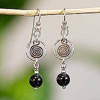 Onyx dangle earrings, 'Popocateptl Rocks' - Sterling Silver and Onyx Modern Art Earrings