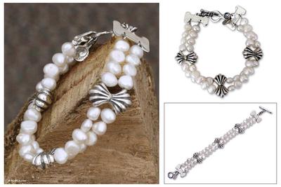 Pearl beaded bracelet, 'Silver Ribbon Bows' - Pearl beaded bracelet