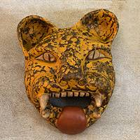 Ceramic mask, 'Fierce Female Jaguar' - Ceramic mask