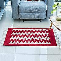 Zapotec wool rug, 'Path of Fire' (2x3.5) - Geometric Red and White Wool Area Rug (2x3.5)