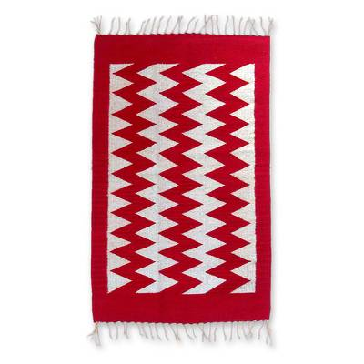 Geometric Red and White Wool Area Rug (2x3.5)