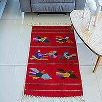 Zapotec wool rug, 'Birds of Mexico' (2x3.5)