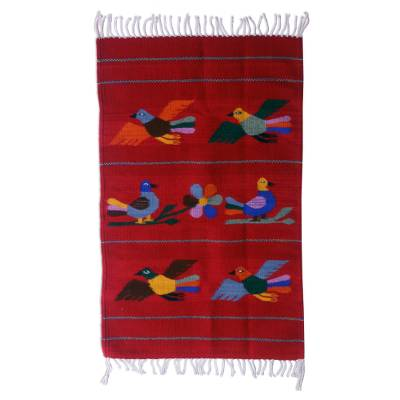 Zapotec wool rug, 'Birds of Mexico' (2x3.5) - Hand Made Wool Bird Theme Area Rug (2x3.5)