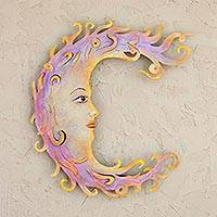 Steel wall art, 'Moon Maiden' - Handcrafted Mexican Steel Moon Wall Art