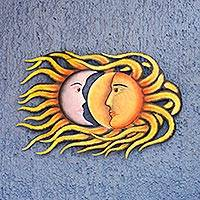 Steel wall art, 'Cosmic Romance' - Sun and Moon Handcrafted Steel Wall Sculpture from Mexico