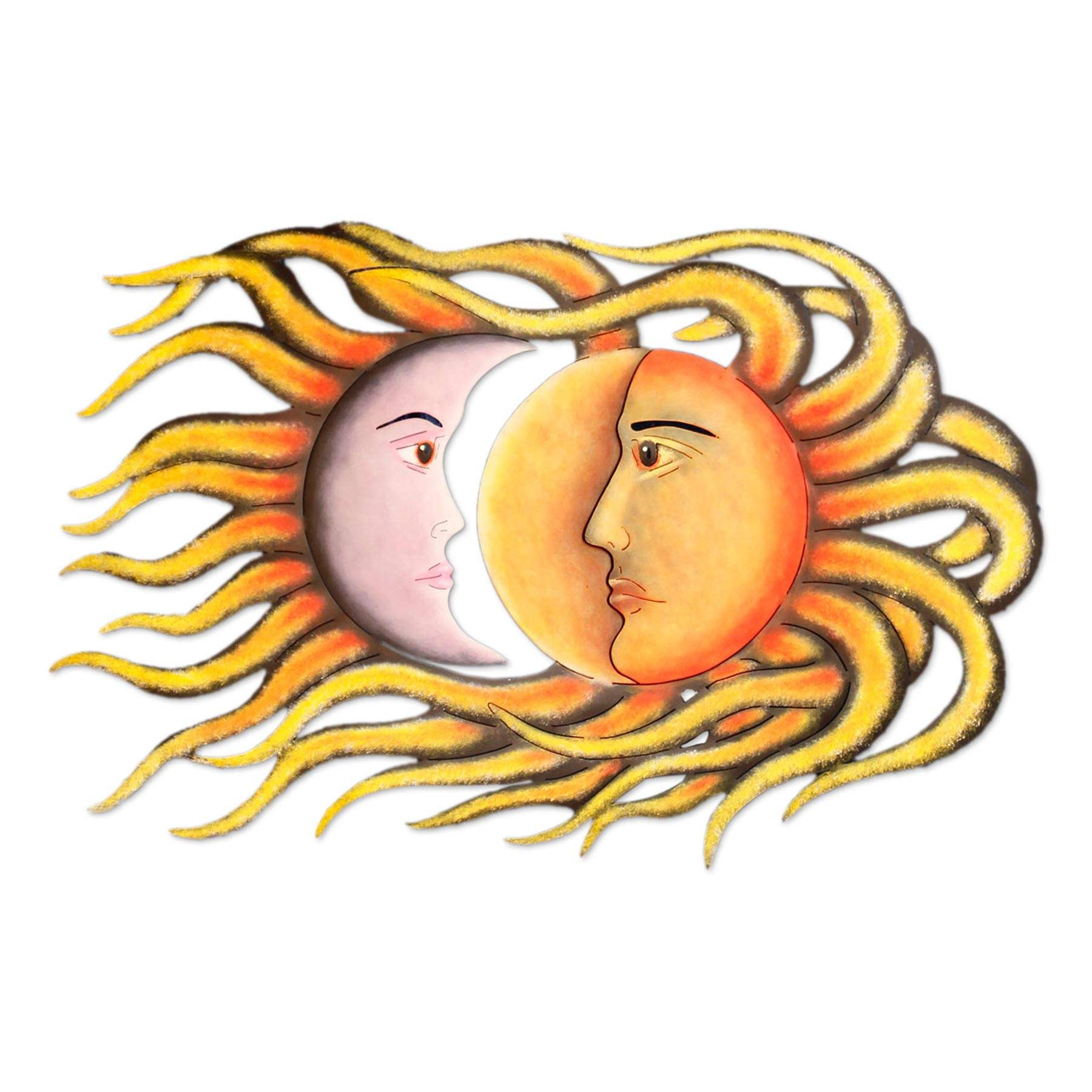 Mexican Sun and Moon Eclipse Steel Wall Art - Cosmic Romance   NOVICA