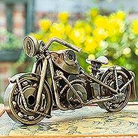 Auto part sculpture, 'Rustic Sport Motorbike' - Handmade Chopper Recycled Metal Motor Cycle Sculpture