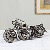 Auto part statuette, 'Rustic Standard Motorbike' - Handcrafted Rustic Sculpture of Recycled Auto Parts