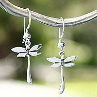 Sterling silver dangle earrings, 'Dragonfly Mystery' - Mexican Women's Sterling Silver Dangle Earrings