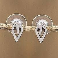 Sterling silver button earrings, 'New Life'