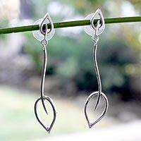 Sterling silver dangle earrings, 'New Life' - Leaf and Tree Sterling Silver Dangle Earrings